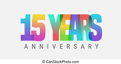 15 years anniversary vector icon, logo. Multicolor design element with modern style sign and number for 15th anniversary