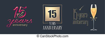 15 years anniversary vector icon, logo set. Festive design...