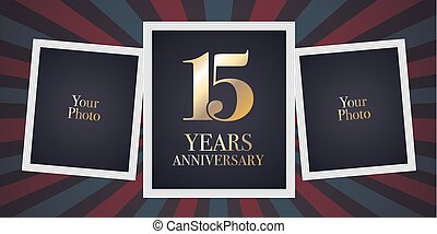 15 years anniversary vector icon, logo. Template design...