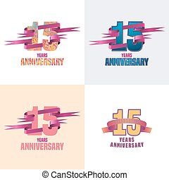 15 years anniversary vector icon set. 15th celebration...