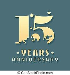 15 years anniversary vector icon, symbol, logo. Graphic...