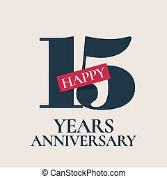 15 years anniversary vector logo, icon. Template design...