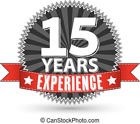 15 years experience retro label with red ribbon, vector illustration