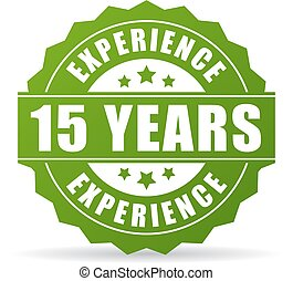 15 years experience vector icon isolated on white background