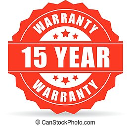 15 years warranty icon isolated on white background