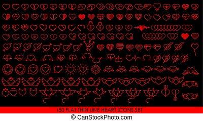 150 FLAT THIN LINE HEART ICONS SET