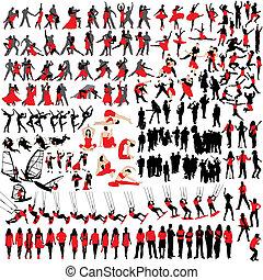 150, silhouettes, fritid, folk