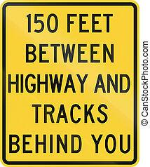 150, unito, -, piste, mutcd, segno, stati, dietro, autostrada, fra, strada, lei, piedi