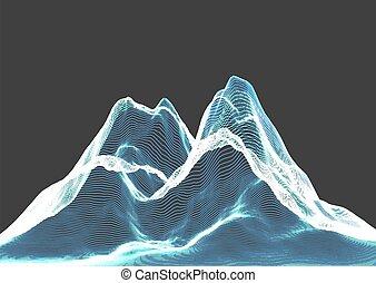 1504, fond, wireframe, montagne, paysage abstrait