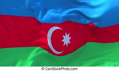 154. Azerbaijan Flag Waving in Wind Continuous Seamless Loop Background.