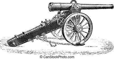 155mm, montaña, vendimia, canon, 1877, modelo, engraving.