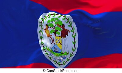 157. Belize Flag Waving in Wind Continuous Seamless Loop...