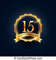 15th anniversary celebration badge label in golden color