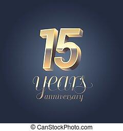 15th anniversary vector icon, logo