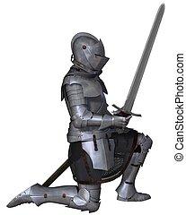 15th Century Medieval Knight Kneels