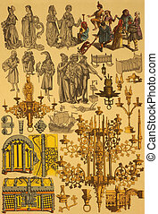 15th Century Netherlands on engraving from 1890 by Fr....