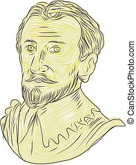 15th Century Spanish Explorer Bust Drawing - Drawing sketch...