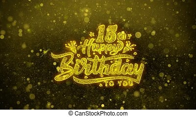 15th Happy Birthday Wishes Greetings card, Invitation, Celebration Firework