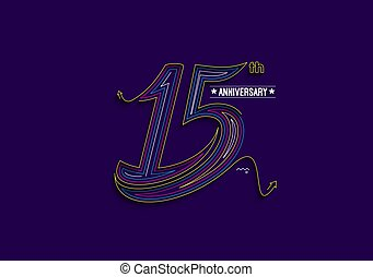 15th Years Anniversary Celebration Typography Vector Design.