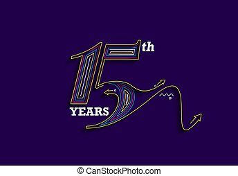 15th Years Anniversary Celebration Vector Design.