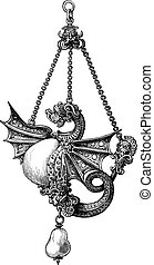 16番目, engraving., 世紀, 宝石, 型
