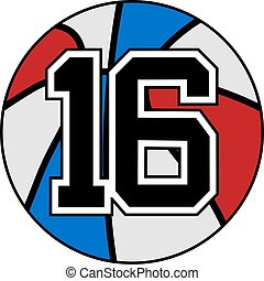 16 basket - creative design of ball of basketball with the...