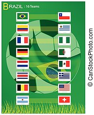 16, brigád, közül, futball, lovagi torna, alatt, brazília, 2014