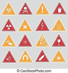 16, color, peligro, señales, tipos, pegatinas, eps10