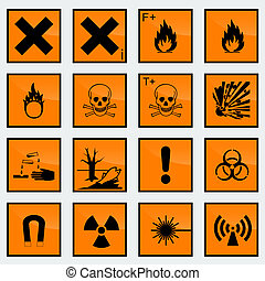 16 Common hazard sign vector illustration.