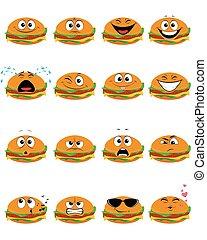 16, emojis, ハンバーガー