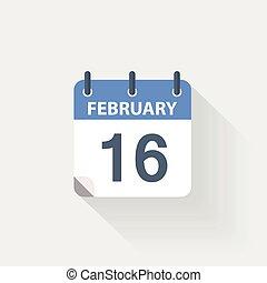 16 february calendar icon
