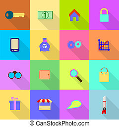 16 flat icons on a colored background