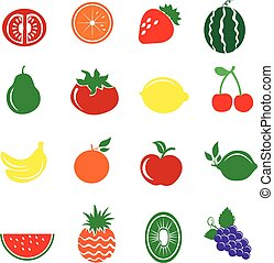 16 Fruits Icons Set