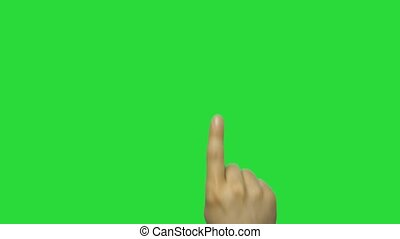 16 Hand gestures. Touchscreen. Female hand showing multi-touch gestures in green screen.