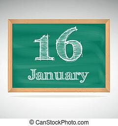 16, inscrição, quadro-negro, giz, janeiro