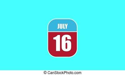 16, jour été, sien, année, mois, animation., assemblé, 2d, parts., feuille, composant, calendrier, juillet, 16th., concept