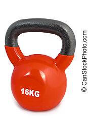 16, kg, elevación, peso, rojo