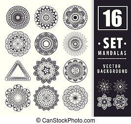 16 mandalas monochrome boho style set