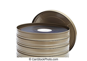Reels of Film on a white background