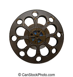 16 mm motion picture film reel isolated on white
