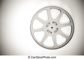 16 mm cinema movie empty reel in black and white