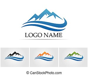 16 - Mountain nature landscape logo and symbols icons...