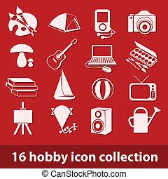 16, pasatiempo, icono, colección