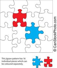 16 piece jigsaw blank. When used with a vector program each...