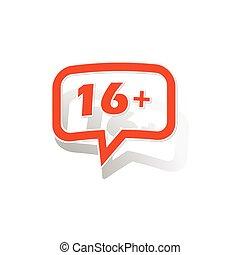 16, plus, boodschap, sticker, sinaasappel