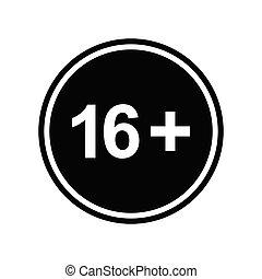 16 plus icon. black vector 16 + plus sign