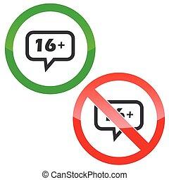 16 plus message permission signs