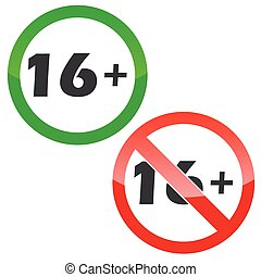 16 plus permission signs set