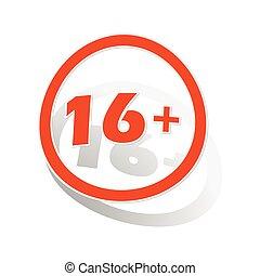 16, plusteken, sticker, sinaasappel