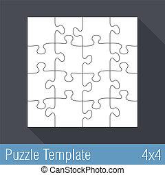 16, puzzle, puzzle, gabarit, morceaux